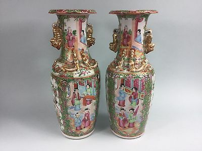 A Pair of 19th/20th Century Rose Medallion Vases