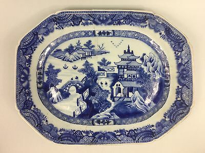 18th C. Blue and White Chinese Meat Plate