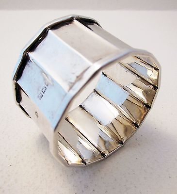 """ANTIQUE """"Faceted"""" Solid Sterling Silver English Birmingham Art Deco NAPKIN RING"""