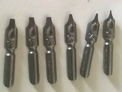 HUNT PENS NIBS - BULK LOT - Hunt 400  lettering pen mixed sizes - 6 pens
