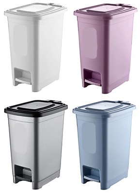 Plastic Dustbin Waste Bin with Lid 10L Slim Basket Waste Rubbish Pedal Bins