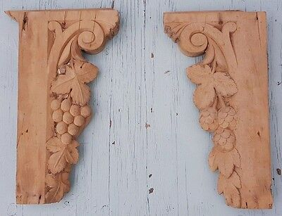 Antique Victorian Hand Carved Stripped Pine Corbels Depicting Fruit and Leaves