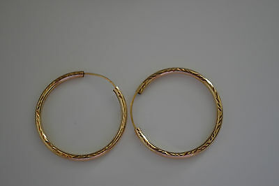 PAIR OF MEDIUM SIZE 9ct HOLLOW GOLD HOOPS CREOLE EARRINGS