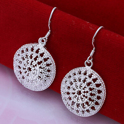 New Stunning 925 Sterling Retro Style Silver Round Filigree Dangle Earrings