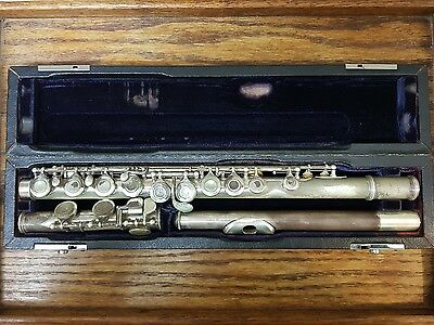 Antique John Lehner Flute with sterling head piece