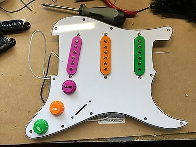 Fully loaded Warman Custom SSS type scratch plate with coloured Texas Triple Hot