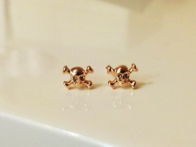 Brand New 14k Rose Gold Plated Skull Cross Stud Earrings