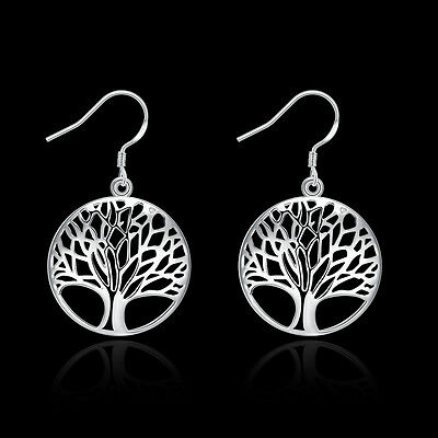 Brand New 925 Sterling Silver Filigree Silver Tree Dangle Earrings