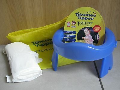 Tommy Tippee Travel Potty Potette - Folds Flat in Bag with 3 Disposable Liners