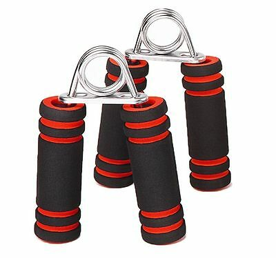 2 UK Quality Hand Foam Gripper Fore Arm Exercise Wrist Fitness Grips Black & Red