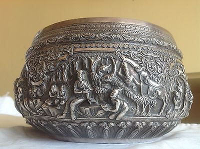 EXCEPTIONAL QUALITY BURMESE SOLID SILVER BOWL DETAILED SCENES  c1850