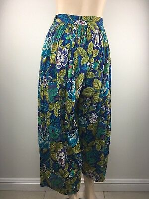 Vintage Kenzo Amazing High Waisted Floral Bubble 100% Cotton Pants Sz - 38