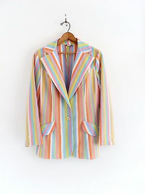 Vtg 60s 70s Johnny Appleseed's Summer Pastel Mod Retro Stripe Blazer Jacket M L