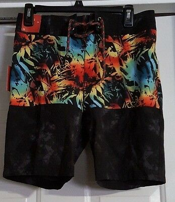 New Mens Black Mossimo Above Knee Swim Trunks With Pockets Size 28 Swim Shorts