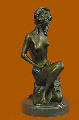 VINTAGE ART NOUVEAU DECO BRONZE HAREM DANCER by Milo 1980 ORIGINAL SCULPTURE