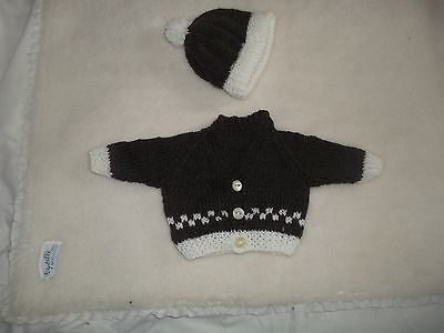 """Cream And Brown Cardigan,bobble Hat   Earlybaby 14"""" Chest"""