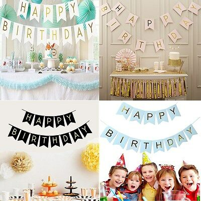 Glitter Happy Birthday Bunting Banner Gold Letters Hanging Garlands Party Decor