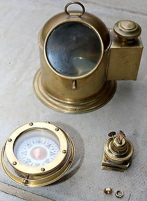 Brass Ships Binnacle Compass with Lamp