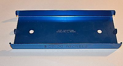 Blue Aluminum $20.00 Nickel Coin Roll Storage Tray, Heavy-duty & Free Shipping