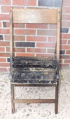 1-Vintage Solid Oak Wood Slatted Folding Chair Sturdy Camping