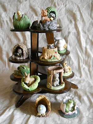 Complete Set Of 12  Woodland Surprises Porcelain Figurines Plus Display Stand