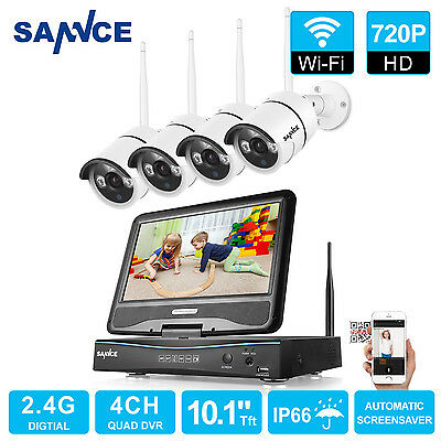 """SANNCE Wireless 10"""" LCD Monitor 720P NVR 4x WIFI IR Home Security Camera System"""