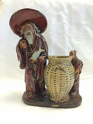 Vintage Chinese Mudman Figurine Sculpture Mud Man with Basket