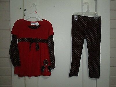 Girls 2 Pc Long Sleeve/pant Outfit.. Bt Kids.. Size 4.. Red/black.. Pretty.. Exc