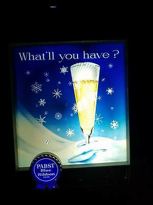 Pabst Blue Ribbon 1950's Vintage Motion Snowflake Lighted Sign Excellent