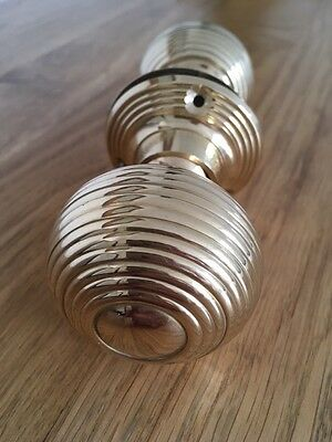 Solid Brass Polished Victorian style beehive door knobs knob handle-With Screws