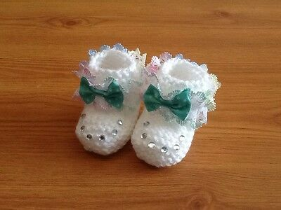 Baby Girls Hand Knitted Booties Newborn White / Multi Lace & Bow