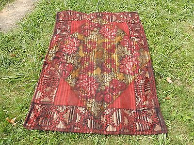 Antique CHASE Black Red Lotus Pattern Horsehair Carriage Blanket 45x60