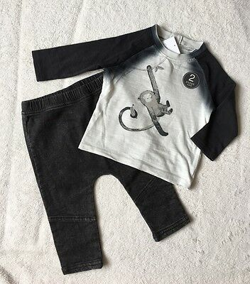 ***BNWT Next baby boy Monkey charcoal top and jeggings jeans set 6-9 months***