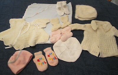 Lot of 10 vintage baby  clothes, booties, blanket