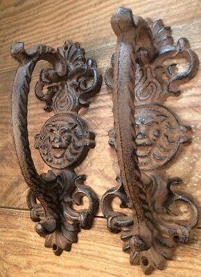 2 Ornate Pulls Handles Door Rustic cast iron antique style Barn Shed Gate 8-7/8