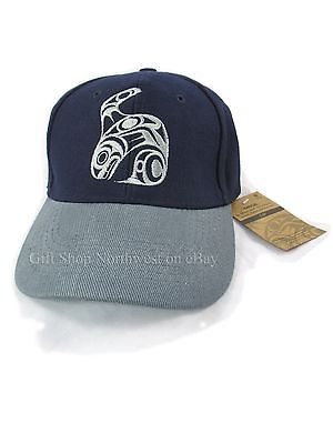 Baseball Cap Native Northwest Orca Velcro Structured Embroidered Blue Gray