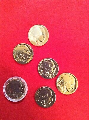 24k Gold Plated Buffalo 5 Cent Coins (rare Items)