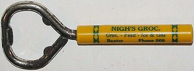 Vintage bottle opener NIGHS GROCERY Feed Gas Baxter Missouri celluloid handle