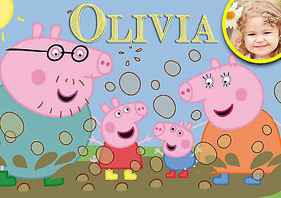 Peppa Pig Personalised A4 A3 Dinner Placemat with name and child's picture!