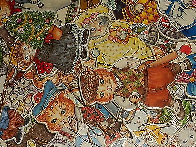 Vtg Lot of 26 Kitty Cucumber Die Cut Victorian Ornaments Gold Accents