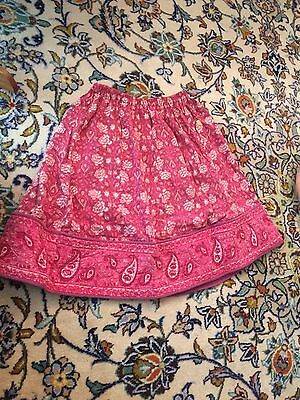 vtg india indian gauze block print short skirt
