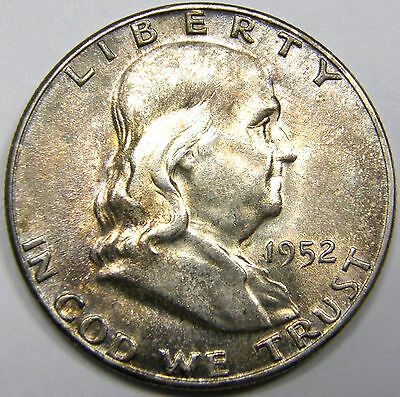 1952 S Franklin Half Dollar#1 MS+++ Nicely Toned