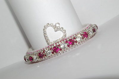 Fushia Pink & Diamond Heart  Preciosa  Crystal Cat Collar