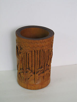 """Fine Old Chinese Carved Bamboo Brush Pot 8"""""""