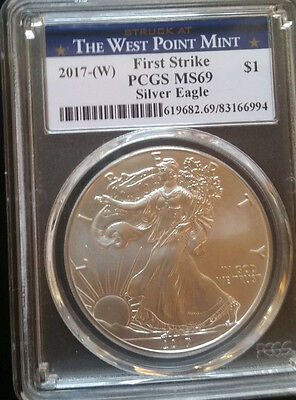 1 New 2017 W PCGS MS69 First Strike - American Silver Eagle - Walking Liberty