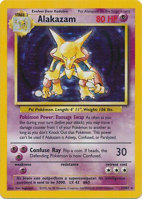 Alakazam 1/102 Holo Rare Pokemon Base Set Pokemon Trading Card USED