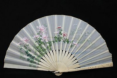Antique Japanese Silk Bone Fan Handpainted & Embroidered With Original
