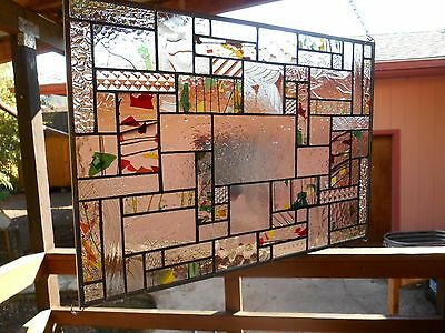 leaf colored stained glass panel window