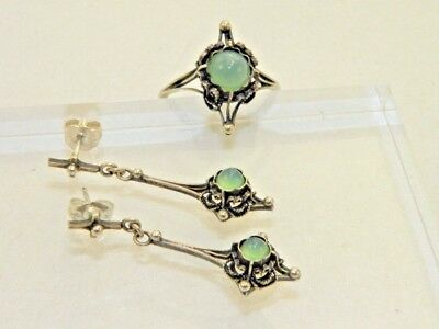 Antique Sterling Silver Gothic Cross Earring Ring Set Green Center Pierced Post