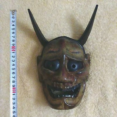 Antique Japanese mask of HANNYA  Noh Kabuki Oni Demon Evil Wooden